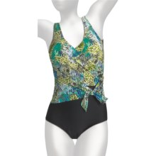 It Figures Double Wrap Swimsuit - 1-Piece (For Plus Size Women) in Glamazon - Closeouts