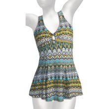 It Figures O-Ring Empire Waist Swimdress - 1-Piece (For Women) in Tribunal Stripes - Closeouts