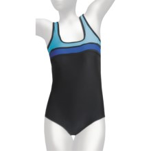 It Figures Square Neck Tank Swimsuit - D-Cup, 1-Piece (For Plus Size Women) in Color Block Black - Closeouts