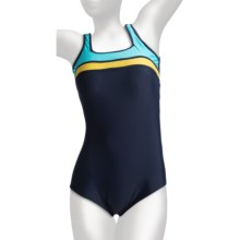 It Figures Square Neck Tank Swimsuit - D-Cup, 1-Piece (For Plus Size Women) in Color Block Navy/Yellow - Closeouts