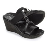 Italian Shoemakers Cross-Strap Wedge Sandals - Leather (For Women)