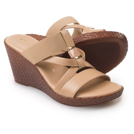 Italian Shoemakers Cross-Strap Wedge Sandals - Leather (For Women) in Natural