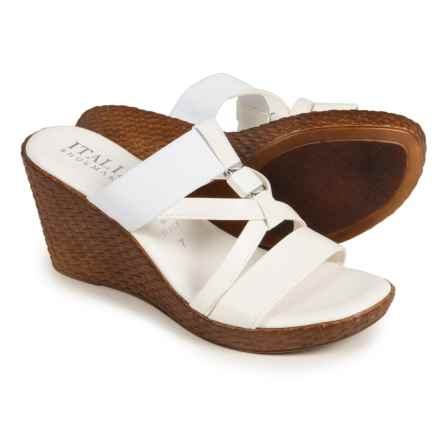 Italian Shoemakers Cross-Strap Wedge Sandals - Leather (For Women) in White - Closeouts