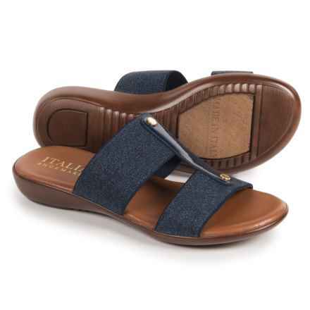 Italian Shoemakers Double-Strap Slides (For Women) in Denim - Closeouts