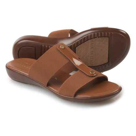 Italian Shoemakers Double-Strap Slides (For Women) in Luggage - Closeouts