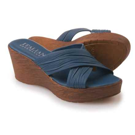 Italian Shoemakers Platform Sandals - Leather (For Women) in Navy - Closeouts