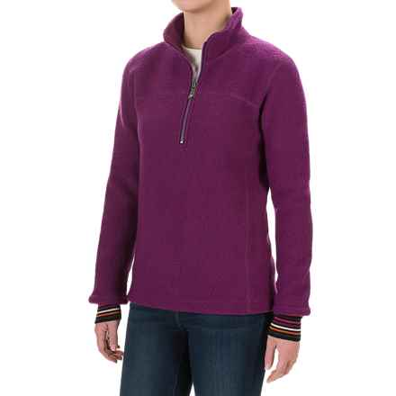 Ivanhoe of Sweden Mette Pullover Jacket - Zip Neck, Boiled Wool (For Women) in Purple - Closeouts