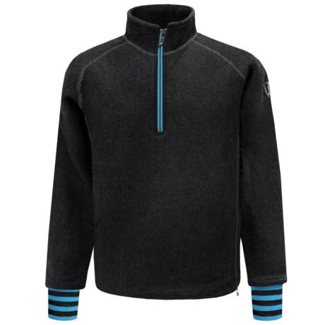 Ivanhoe Rune Boiled Wool Sweater - Zip Neck (For Men) in Black/Blue