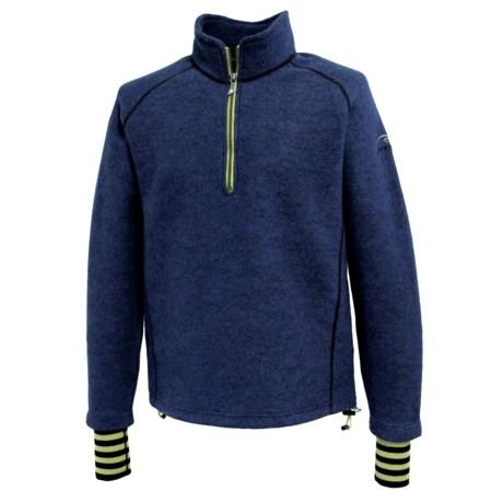 Ivanhoe Rune Boiled Wool Sweater - Zip Neck (For Men) in Royal