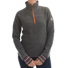 Ivanhoe Tekla Sweater - Boiled Wool, Zip Neck (For Women) in Grey - Closeouts