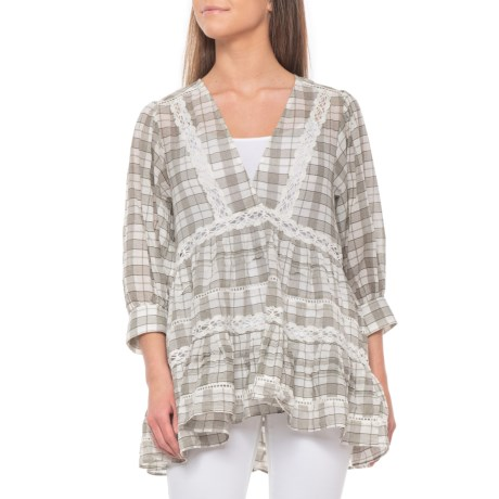 Ivory Time Out Lace Tunic Shirt - 3/4 Sleeve (For Women)