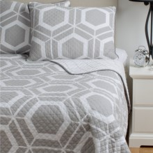 Ivy Hill Home Bold Geo Reversible Quilt Set - King in Gray - Overstock