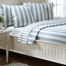 Ivy Hill Home Cabana Stripe Quilt Set - Reversible, Queen in Fog/Whisper White - Overstock