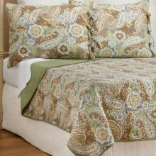Ivy Hill Home Colonial Floral Paisley Cotton Quilt and Sham Set, Full-Queen in Sage Multi - Overstock