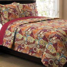 Ivy Hill Home Colonial Floral Paisley Cotton Quilt and Sham Set - King in Red Multi - Overstock