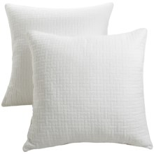 Ivy Hill Home Landon Quilted Cotton Pillow Shams - Euro, Pair in White - Overstock