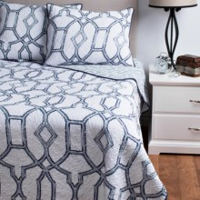 Ivy Hill Home Trellis Reversible Quilt Set - King in Blue - Overstock