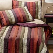 Ivy Hill Home Venetian Stripe Comforter Set - Full in Multi/Spice - Overstock