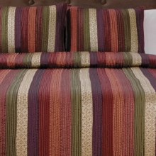 Ivy Hill Home Venetian Stripe Quilt Set - Full-Queen in Spice - Overstock