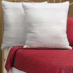 Ivy Hill Home Winslet Single-Needle Euro Pillow Shams - Quilted Cotton, Pair in Whisper White