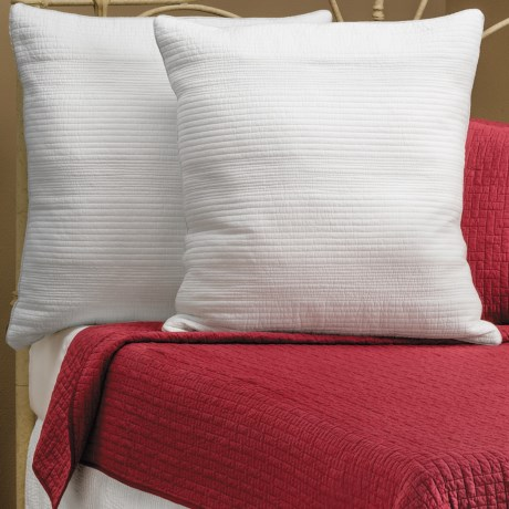 Ivy Hill Home Winslet Single-Needle Pillow Shams - Euro, Quilted Cotton, Pair in Whisper White