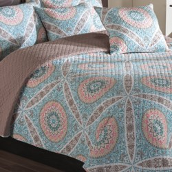Ivy Hill Home Zola Quilt Set - Queen, Reversible in Mauve/Fawn