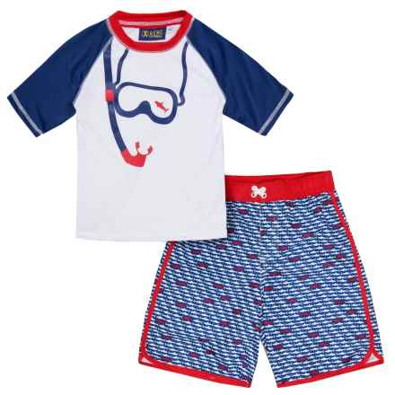 iXtreme Fish Rash Guard and Swim Trunks Set - Short Sleeve (For Little Boys) in Red - Closeouts
