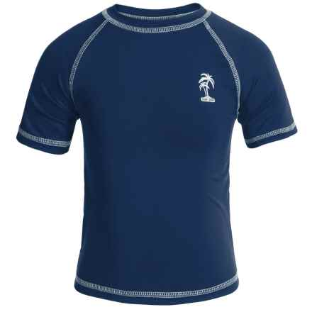 iXtreme Palm Tree Logo Rash Guard - Short Sleeve (For Big Boys) in Navy - Closeouts