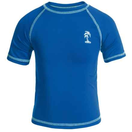 iXtreme Palm Tree Logo Rash Guard - Short Sleeve (For Big Boys) in Royal - Closeouts