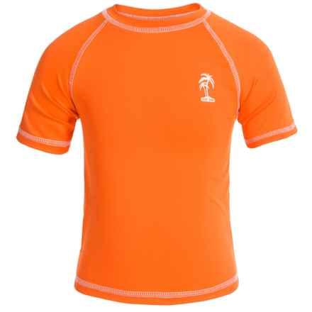 iXtreme Palm Tree Logo Rash Guard - Short Sleeve (For Little Boys) in Orange - Closeouts