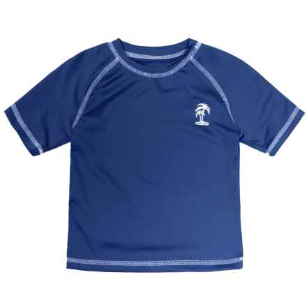 iXtreme Palm Tree Logo Rash Guard - Short Sleeve (For Toddler Boys) in Navy - Closeouts