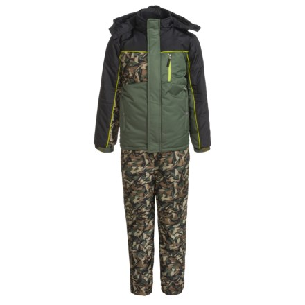 52439d2055a63 iXtreme Printed Camo Sleeve Snowsuit Set - Insulated (For Little Boys) in  Olive -