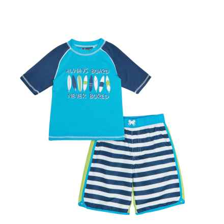 iXtreme Striped Rash Guard and Swim Trunks Set - Short Sleeve (For Little Boys) in Navy - Closeouts