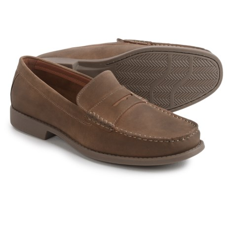 IZOD Edmund Penny Loafers - Vegan Leather (For Men) in Tan Semi Suede