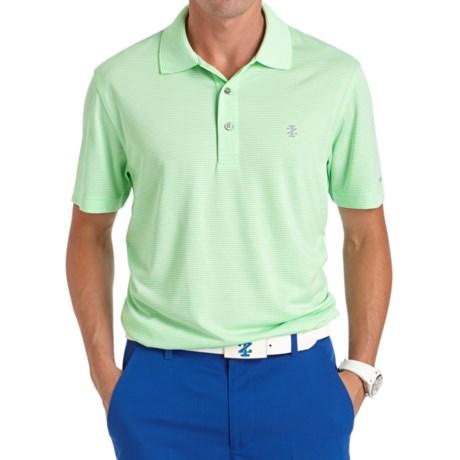 IZOD Greenie Feeder Striped Polo Shirt UPF 15 Short Sleeve For Men