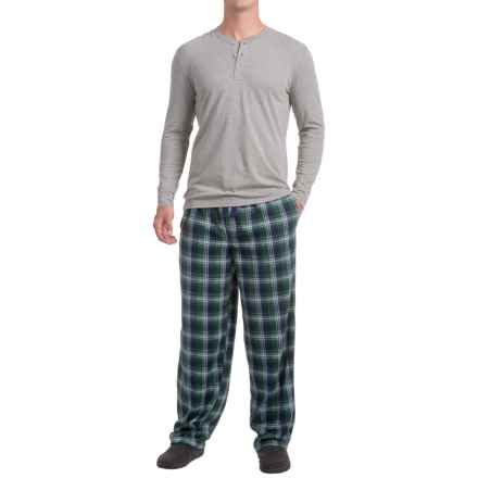 IZOD Henley Shirt and Fleece Pants Sleep Set - Long Sleeve (For Men) in 011 Grey/Blue - Closeouts