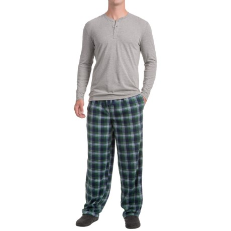 IZOD Henley Shirt and Fleece Pants Sleep Set - Long Sleeve (For Men) in 011 Grey/Blue