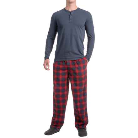 IZOD Henley Shirt and Fleece Pants Sleep Set - Long Sleeve (For Men) in 411 Blue/Red - Closeouts