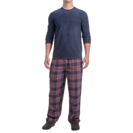 Izod IZOD Crew Neck Shirt and Flannel Pants Sleep Set - Long Sleeve (For Men) in Blue/Blue - Closeouts