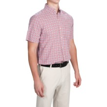 IZOD Lightweight Poplin Check Shirt - Short Sleeve (For Men) in Ribbion Red - Closeouts