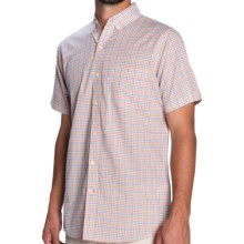IZOD Lightweight Poplin Check Shirt - Short Sleeve (For Men) in Shell Coral - Closeouts