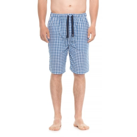 IZOD Plaid Broadcloth Lounge Shorts (For Men) in Blue/White Check