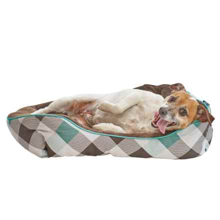 "IZOD Plaid Cuddler Dog Bed - 24x18"" in Teal / Brown - Closeouts"