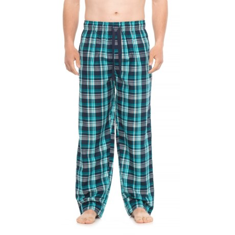 IZOD Plaid Lounge Pants (For Men) in Navy/Turquoise/Grey Plaid