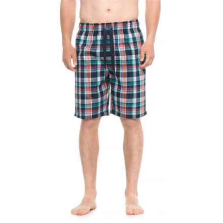 IZOD Plaid Sleep Shorts (For Men) in Navy/Garnet/Turquoise Plaid - Closeouts