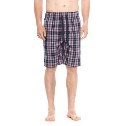 IZOD Plaid Sleep Shorts (For Men) in Navy/Yellow/Garnet Plaid - Closeouts