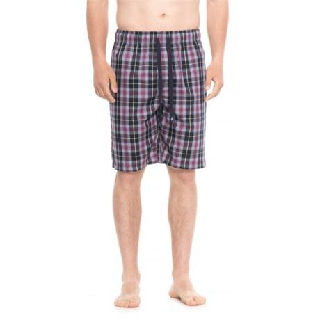 IZOD Plaid Sleep Shorts (For Men) in Navy/Yellow/Garnet Plaid