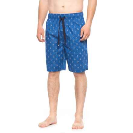 IZOD Printed Poplin Sleep Shorts (For Men) in Anchor - Closeouts