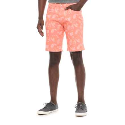 IZOD Printed Stretch Twill Shorts (For Men) in Coral/Leaf - Overstock