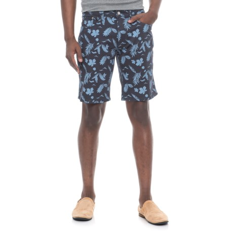 IZOD Printed Stretch Twill Shorts (For Men) in Navy/Leaf